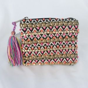 America & Beyond Beaded Coin Purse Wallet